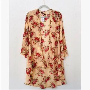 Sheer peach floral open kimono